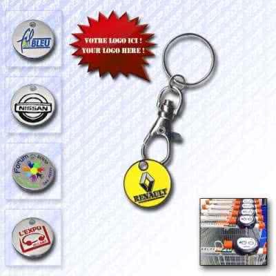 Porte clés jeton caddie personnalisé en métal à mousqueton
